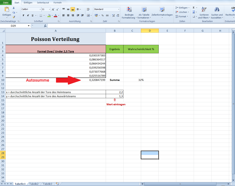 Wahrscheinlichkeitsrechnung Excel