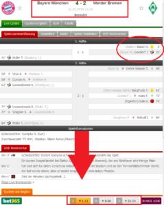 Das Fussballergebniss von Fc Bayern Münschen gegen Werder Bremen